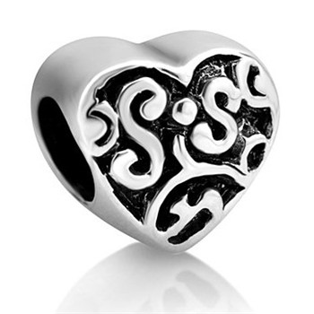Heart Sis Love My Sister Jewelry Bracelet Bead Charms Mbo 01225